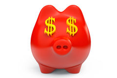 Piggy Bank with USD sign as Eyes Stock Photography