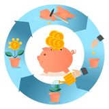 Piggy bank in various action. The concept of saving money. The concept of the contribution of money. Invests and bank deposits. L. Ovely pig and a lot of money Royalty Free Stock Image