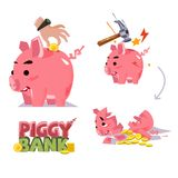 Piggy bank in various action. inserting coin. smash with hammer. Broken piggy bank  -  illustration Royalty Free Stock Photography