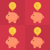 Piggy bank with various currency signs Stock Image