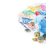 Piggy bank and various money Royalty Free Stock Photo