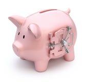 Piggy bank with vault door. 3D concept with piggy bank and vault door Stock Images