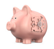 Piggy Bank with Vault Door. Isolated on white background. 3D render Royalty Free Stock Image
