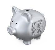 Piggy Bank with Vault Door Stock Photo