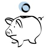 Piggy bank vector. A sketch of a piggy bank + vector eps file Stock Image
