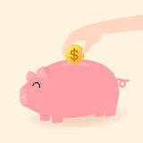 Piggy bank. Vector of hand put money in pink piggy bank, keep money for the future Royalty Free Stock Photography