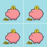 Piggy bank. Vector illustration. dollar,euro,yen,pounds Royalty Free Stock Photos