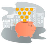 Piggy bank vector illustration. Icon saving or accumulation of money. Icon piggy bank in a flat style, isolated. The concept of ba Royalty Free Stock Photo