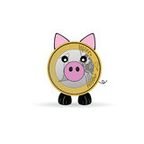 Piggy bank vector illustration with one euro Royalty Free Stock Photos