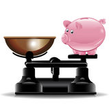 Piggy bank on vintage scale Royalty Free Stock Photos