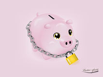 Piggy bank that was locked Stock Photos