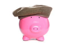Piggy bank wearing an army beret Stock Image