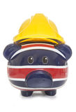 Piggy bank wearing builders hard hat Stock Images