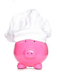 Piggy bank wearing chefs hat Royalty Free Stock Photography
