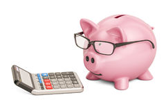 Piggy bank wearing eyeglasses with calculator, 3D rendering Royalty Free Stock Image