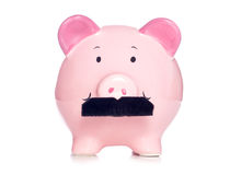 Piggy bank wearing fake moustache Stock Image