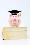 Piggy bank wearing a graduate cap standing on top of a pile of books. Saving for higher education concept. Piggy bank wearing a graduate cap standing on top of a stock images