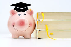 Piggy bank wearing a graduation cap standing close to a pile of books. Saving for higher education concept. Piggy bank wearing a graduation cap standing near a Royalty Free Stock Images