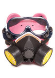 Piggy bank wearing industrial gas mask Royalty Free Stock Photography