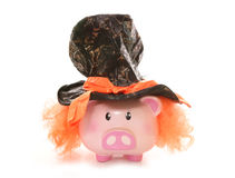 Piggy bank wearing mad hatter hat. Studio cutout royalty free stock image