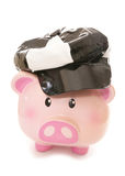 Piggy bank wearing 60s pvc cap Stock Photos