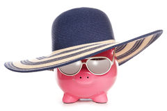 Piggy bank wearing a summer hat Stock Images