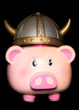 Piggy bank wearing a viking hat Stock Images