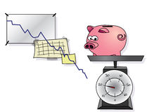 Piggy bank is weighing Royalty Free Stock Photography