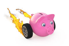 Piggy bank on wheels. On white 3d illustation Royalty Free Stock Photo