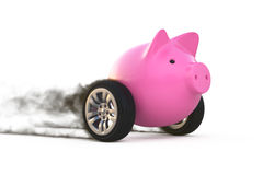 Piggy bank on wheels. On white 3d illustation Stock Photos