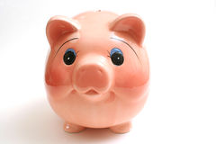 Piggy bank on white Royalty Free Stock Photo