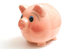 Piggy bank on white. Isolated photo of a piggy bank on white Royalty Free Stock Images