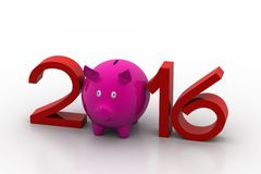 2016 with piggy bank. In white background Stock Photography