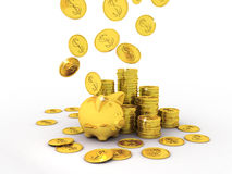 Piggy Bank. On white background, 3D images Royalty Free Stock Photos