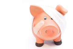 Piggy bank white frontal Royalty Free Stock Photos