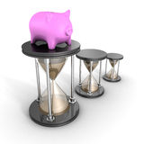 Piggy Bank White Hour Sandglasses. Time Is Money Concept Stock Photo