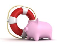 Piggy Bank With Lifebuoy Savings Money Help Concept Royalty Free Stock Photos
