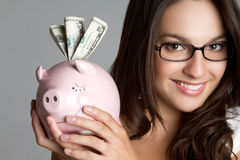 Piggy Bank Woman Royalty Free Stock Photography