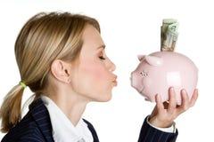Piggy Bank Woman Stock Photography