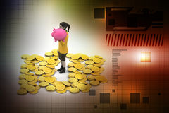 Piggy bank and woman with gold coins Royalty Free Stock Photos