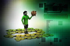 Piggy bank and woman with gold coins Royalty Free Stock Photography