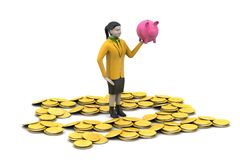Piggy bank and woman with gold coins Stock Photos