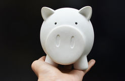 Piggy bank on woman hand Royalty Free Stock Images
