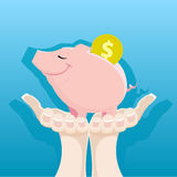 Piggy Bank in the women's hands. Woman's hands holding a piggy bank Royalty Free Stock Photos