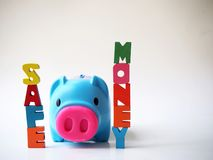 Piggy bank and Wood letter in word Money stock image