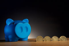 Piggy bank on a wooden base black background stock image