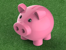 Piggy bank on wooden counter. 3d rendering piggy bank on green background Stock Image