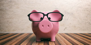 Piggy bank on wooden floor and marble wall. 3d illustration Royalty Free Stock Photography