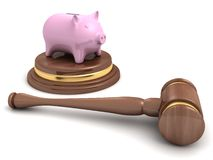 Piggy bank and a wooden legal auction gavel on white Royalty Free Stock Photos