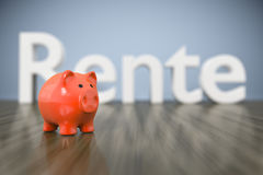 Piggy bank with the word pension in german language Stock Images